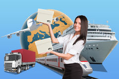 Smiling businesslady holding two boxes Royalty Free Stock Photo