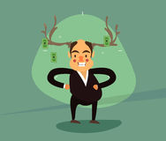 Smiling businessman antlers Stock Photography