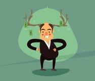 Smiling businessman antlers vector illustration