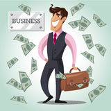 Smiling businessman with a bag of money. Royalty Free Stock Images