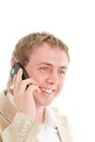 Smiling businessman call by cellular phone Royalty Free Stock Photos