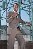 Smiling Businessman On Cell Phone Stock Photography