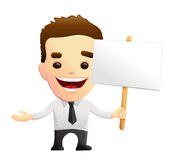 Smiling Businessman Character Holding A Sign. Smiling vector businessman character in a white shirt with black tie, holding a sign. Might be used as a corporate Royalty Free Stock Images