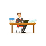 Smiling businessman character in a suit working on a laptop computer at his office desk vector Illustration. On a white background Stock Photo