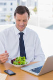 Smiling businessman eating a salad on his desk Royalty Free Stock Image