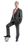 Smiling businessman with a football Royalty Free Stock Photo