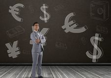 Smiling businessman in front of money on wall Royalty Free Stock Photo