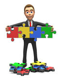 Smiling businessman gathered puzzle. 3d smiling businessman gathered puzzle Stock Image