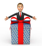 Smiling businessman with a gift. 3d smiling businessman with a gift Stock Images