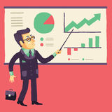 The Smiling Businessman giving a Projects Presentation. Smiling Businessman Giving a Projects Presentation (manager and presentation). Vector illustration Royalty Free Stock Image