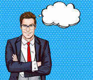 Smiling Businessman in glasses in comic style with speech bubble.Success