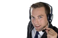 Smiling businessman with headphone Stock Images