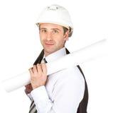 Smiling businessman in helmet Royalty Free Stock Images