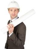 Smiling businessman in helmet Royalty Free Stock Photo
