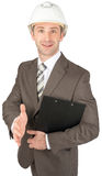 Smiling businessman in helmet Stock Photos