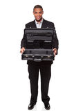 Smiling businessman holding empty open briefcase Stock Photos