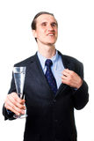 Smiling businessman holding glass of wine Royalty Free Stock Images