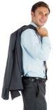 Smiling businessman holding his jacket. On white background Royalty Free Stock Photo