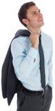 Smiling businessman holding his jacket. On white background Royalty Free Stock Images