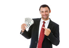 Smiling businessman holding money Royalty Free Stock Photography