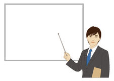 Smiling businessman holding a pointer stick Royalty Free Stock Photo