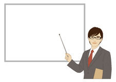 Smiling businessman holding a pointer stick Royalty Free Stock Images