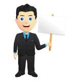Smiling Businessman Holding A Sign. Smiling Businessman in a black suit, Holding A Sign Stock Photo