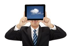 Smiling businessman holding tablet pc Royalty Free Stock Photography