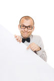 Smiling businessman holding white info board Stock Photo