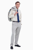Smiling businessman with jacket over his shoulder Stock Photo