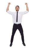 Smiling businessman lifting up something heavy Stock Photos