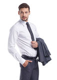Smiling businessman looking at camera Royalty Free Stock Photos