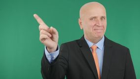 Smiling Businessman Make No Hand Gestures Attention Sign royalty free stock photos