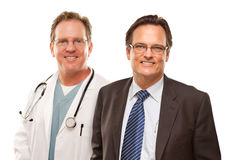 Smiling Businessman with Male Doctor or Nurse Royalty Free Stock Image