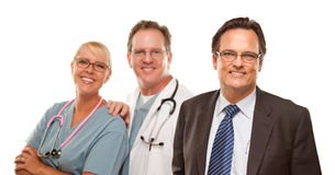 Smiling Businessman with Male and Doctor and Nurse Stock Photos