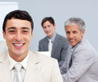 Smiling businessman in a meeting Royalty Free Stock Photography