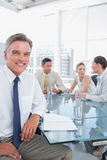 Smiling businessman during a meeting Royalty Free Stock Photography