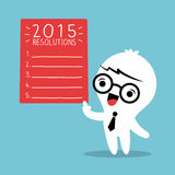 Smiling businessman with 2015 new year resolutions list. Smiling businessman cartoon with 2015 new year resolutions list Royalty Free Stock Photography
