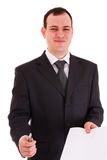 Smiling businessman offer sign paper Royalty Free Stock Photo