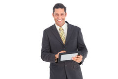 Smiling businessman with pc tablet Royalty Free Stock Photo