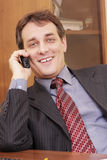 Smiling businessman on phone Stock Photography