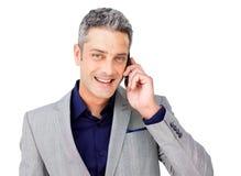 Smiling Businessman on phone Royalty Free Stock Photos