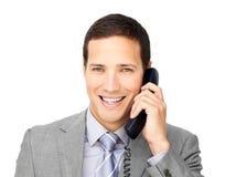 Smiling businessman on phone Stock Image