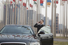 Smiling Businessman on the phone getting into his car Stock Images
