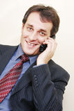 Smiling businessman with phone inclining left Stock Image