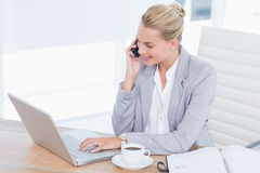 Smiling businessman phoning at her desk while using her computer Stock Images