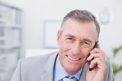 Smiling businessman phoning at his desk Stock Images