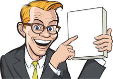 Smiling businessman pointing at blank box. Vector illustration of smiling businessman in retro glasses pointing at blank box. Easy-edit layered vector EPS10 file Stock Photography