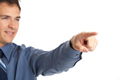 Smiling Businessman Pointing Finger Royalty Free Stock Images