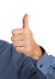 Smiling Businessman Pointing Finger Stock Photo